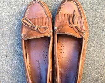 Women's Vintage Brown Leather Loafer Slip-On Moccasin Size 6.5