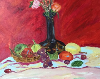 oil painting, flowers and fruits,50cm*60cm