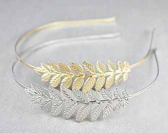 Serre tête mariée-style bohème -accessoires cheveux-bridal hair accessories-head band leaves-serre tête feuilles -bijoux mariage- Sarah Aime