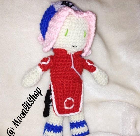 Amigurumi Naruto Pattern : Naruto Inspired Crochet Naruto Sakura Haruno Amigurumi Doll