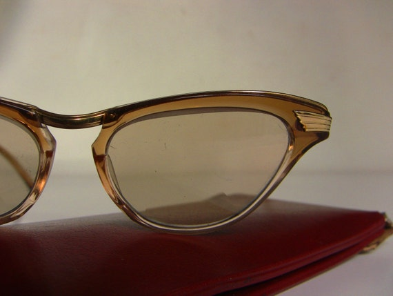 Real Gold Eyeglass Frames : Super Gold Plated Cat Eye Glasses Brown Amber Frame Real Gold