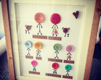Personalised family button frame - family tree - white, oak or black frame options