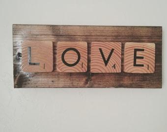Love Scrabble inspired sign