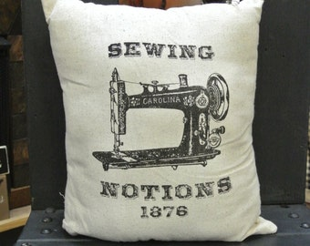 Vintage Sewing Notions Pillow