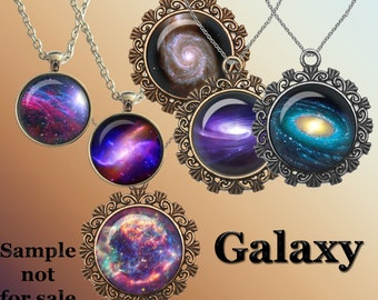"Galaxy Digital Collage Sheet for Glass Dome Pendants Bottle Caps Cabochons Magnets Digital Images for Jewelry Nebula Images 1.5"" 1"" 25mm"