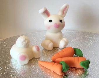 Edible Fondant Easter/Spring Bunny & Carrots Cake/Cupcake Topper Set
