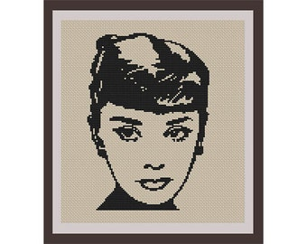 Audrey Hepburn Counted Cross Stitch Pattern. PDF Instant Download. Begginers Pattern.