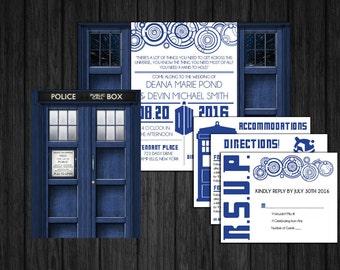 Folding Doctor Who TARDIS Invitation Set