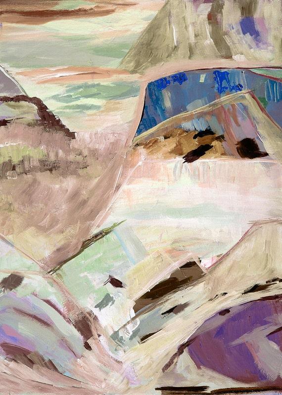 Modern abstract landscape Blue, green,  pink and lavendar - gicleer print