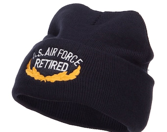 US Air Force Retired Embroidered Long Beanie