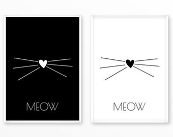 Cat meow Print, kitten scandinavian Poster, Quotes, printable, Typography, Poster, Motivational, Inspirational Home Decor, wall art, gift