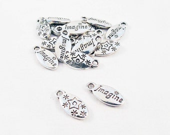 "Pco21 - 2 pendants Locket oval Silver ""Imagine"" reasons stars Sun / 2 parts Antiqued Silver ""Imagine"" Oval Medal Pendants Sun Star"