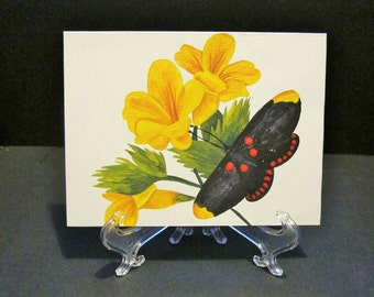 Butterfly on Flowers- Hand painted card
