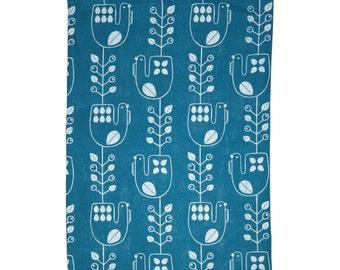 Hand screen printed 'Mustikkakukko' tea towel in 100 % Linen - Petrol Blue and White