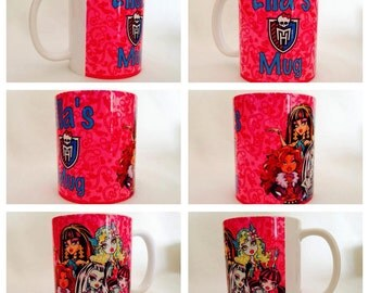 personalised mug cup monster high blue lagoona celo de nile clawdeen draculaura ghoul scary group gift present