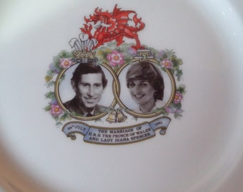 Prince Charles Lady Diana Wedding Plate Royal Albert Bone China England 1981 Historical Marriage  Prince of Wales Lady Diana Spencer