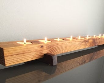 Long Cedar Wood Tea Light Candle Holder Modern Rustic Wedding Centerpiece 36 inch