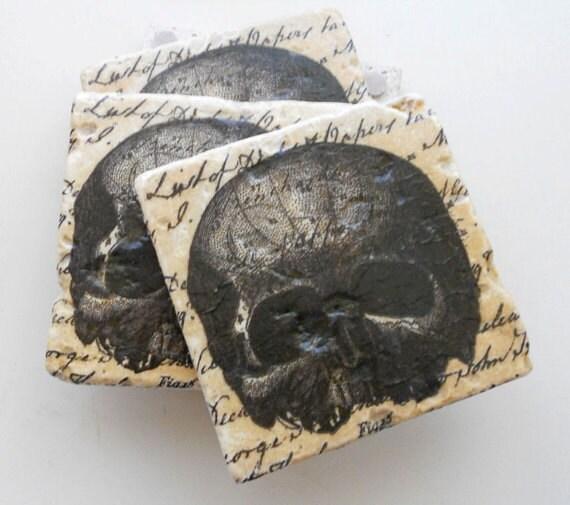 Skull Halloween Coasters VINTAGE SKULL Gothic Skulls Script Tumbled Stone Coasters Set 4 Halloween Anitomical Medical Skelaton Skull Decor