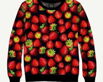 Red Berry, Strawberries - Men's Women's Sweatshirt | Sweater - XS, S, M, L, XL, 2XL, 3XL, 4XL, 5XL