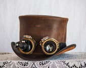 Steampunk Leather Top Hat with Steampunk Goggles
