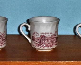 English transferware cups -- Set of 3