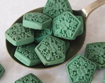 4 Cinnabar Carved Floral Beads Pentagon Shape Turquoise Green Size 20 x 20mm
