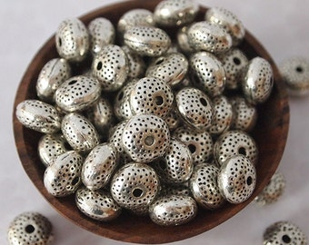 15 Metal Beads Rondelle Shape Antique Silver Textured Finish Size 8 x 5mm