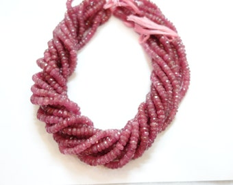 Pink Tourmaline Faceted Rondelles, Pink Tourmaline Beads, Tourmaline Rondelle Beads