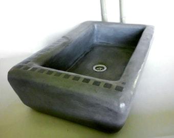 Dark grey washbasin 63 x 40 x 18 cm