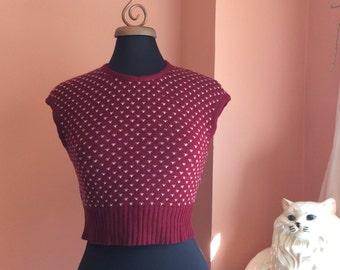 Vintage Sweater Vest, Polka-Dot, Cropped Nerd Vest, Burgundy (B175)