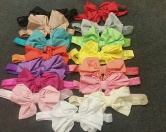 Set of 15 Messy Chiffon Bow Headbands, Big Chiffon Bow Headbands, Newborn Bow Headbands, Baby Bows, Baby Headbands, Messy Bows, Newborn Bow