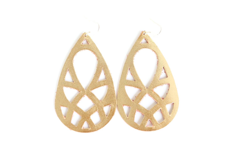 leather earrings gold earrings metallic earrings by