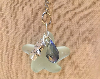 Sea glass starfish long necklace