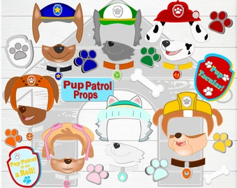 Pup Patrol Photo Props- Birthday Doggie Photo Props- Printable Pup Paw Patrol Party Props-Paw Patrol Birthday decorations- Printable Props