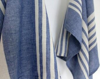 2 Blue Striped Dish Towels | Organic Cotton Tea Towels | Bohemian Dish Towels | Natural Kitchen Linens | Trend Textiles