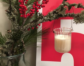 hand poured soy wax in hanging glass
