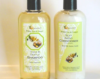 Shampoo and Conditioner, non-ethnic hair, FREE SHIPPING, Childrens shampoo Sugar Scrub,  silk amino acids White Tea and Ginger