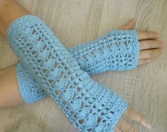 Long denium mittens, Crochet mittens, Fingerless gloves, Fingerless mittens, Crochet fingerless gloves, Hand warmers - MADE TO ORDER 16075