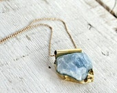 Blue Calcite Necklace , Calcite With Brass Clasp Necklace, Boho / Minimalistic Chakra Pendant / Valentine's day Gift