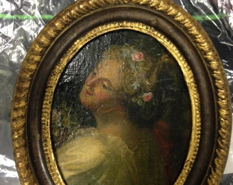 19th century oval portrait of a maiden, oil on panel