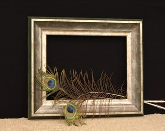 Picture Frame, Green-Gold-Pewter, various sizes, 8 x 10 up to 12 x 18, wood moulding, handmade frame, antique appearance.