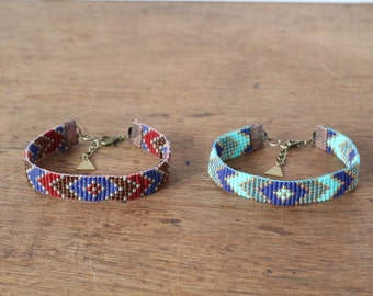 Bracelet woven hand beaded Peyote pattern rafters Bordeaux or blue, ethnic chic bohemian, Made in Paris