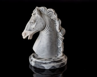 Stone Horse Sculpture Marble Dust Animal Figurine Russian Art Souvenir Chess Knight Figurine