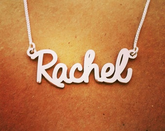 Rachel style  Silver Name Necklace/ unique Gift/ Personalized Custom made nameplate/ Sterling Silver Name Necklace - Custom Name Necklace