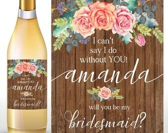 BRIDESMAID WINE BOTTLE Label, Bridesmaid Wine Label, Bridesmaid Wine Bottle, Bridesmaid Proposal, Bridesmaid Gift, Will You Be My Bridesmaid