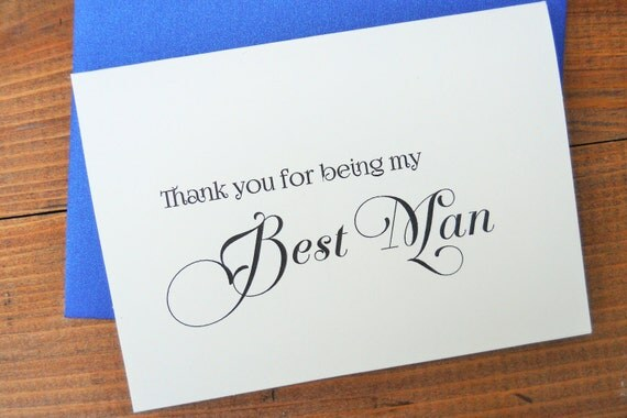 Thank You for being my BEST MAN Card with Shimmer Envelope