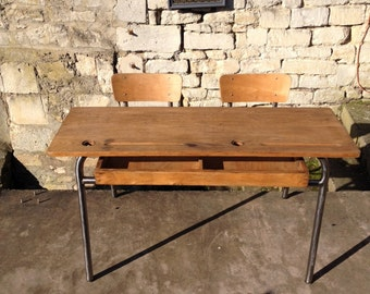 school desk double retro vintage industrial loft