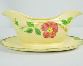 Vintage 1950s Franciscan Ware Desert Pink Rose Gravy Boat California USA Made 1950s Era Hand Painted Easter Dinner Parties Serving Piece