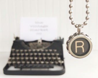 vintage typewriter necklace letter {r} authentic