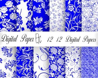 Digital Blue Paper, Blue and White Background Paper, Scrapbooking,Floral Digital Paper, Printable Paper, Digital Paper Pack     P31LA